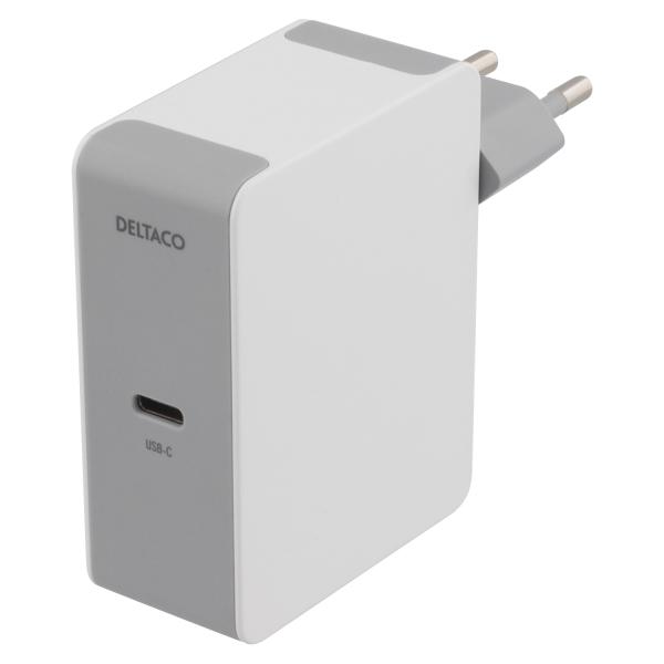 Incarcator priza 60W DELTACO, 60W PD, 100-240V AC, 50/60 Hz, 1.5A, alb