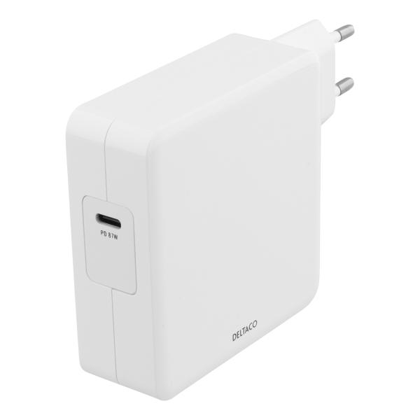 Incarcator priza 87W DELTACO, USB-C, Power Delivery, alb