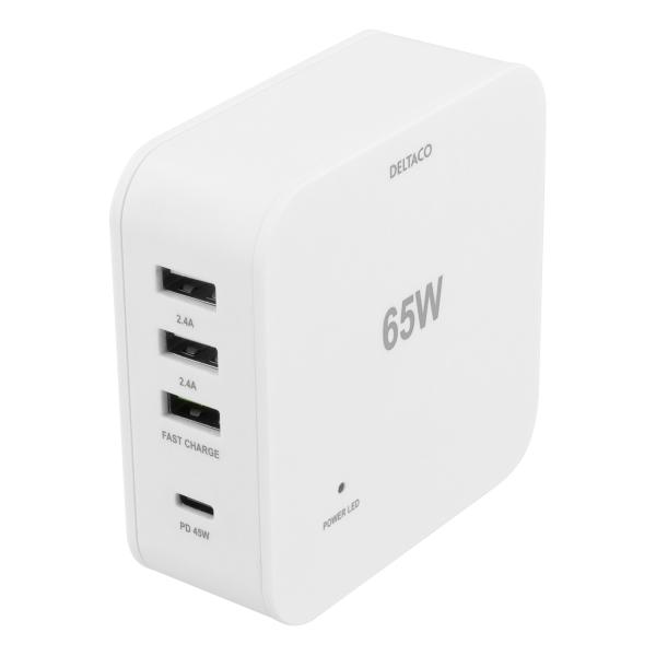 Statie de incarcare multiport fast charge DELTACO 65W, USB-C PD 45W, incarcare rapida 18W, 1xUSB 3A si 2xUSB 2.4A max 12W, alb