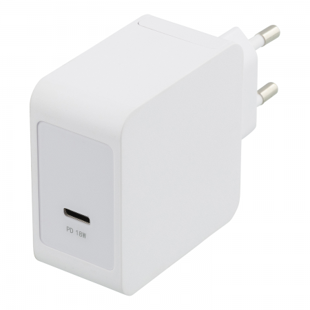 Incarcator priza fast charge DELTACO, USB-C 18W, Power Delivery 2.0, 3A, alb