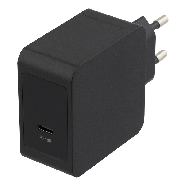 Incarcator priza fast charge DELTACO, USB-C 18W, Power Delivery 2.0, 3A, negru