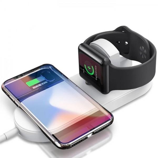 Incarcator wireless 2 in 1 pentru iPhone, Samsung, Airpods, ceas Apple, Samsung culoare Alb