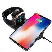 Incarcator wireless 2 in 1 pentru iPhone, Samsung, Airpods, ceas Apple, Samsung culoare negru