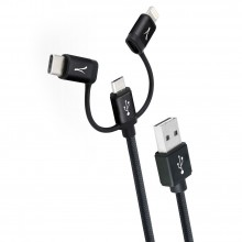 Cablu 3in1 impletit AKASHI - Micro USB & USB Type-C & Apple Lightning Black