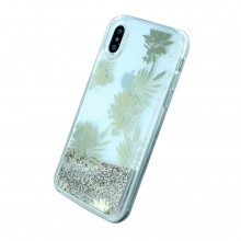 Husa iPhone X Guess Liquid Glitter Palm Spring Auriu