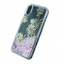 Husa iPhone X/Xs Guess Liquid Glitter Palm Spring Roz Auriu