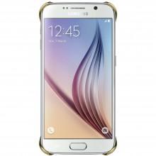 Capac de protectie Samsung pentru Galaxy S6, spate Clear Cover, Clear Gold